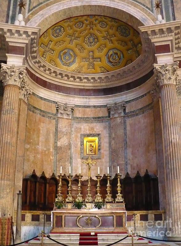 Pantheon Art Print featuring the photograph Golden Pantheon Altar by Carol Groenen