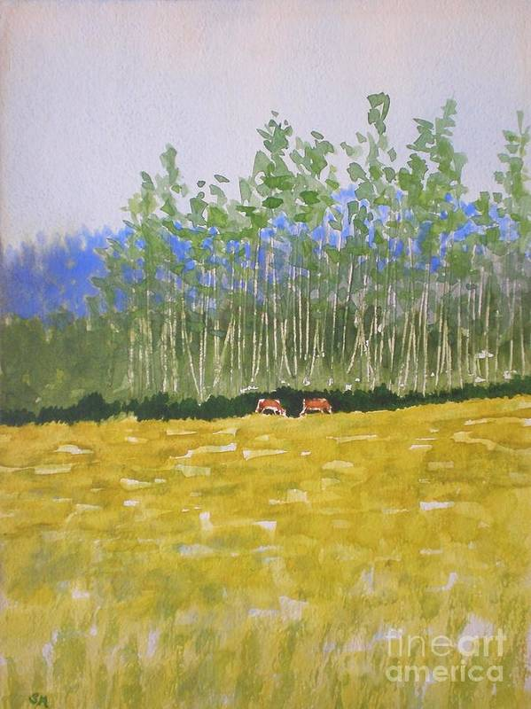 Western Art Art Print featuring the painting Grazin In The Grass by Suzanne McKay