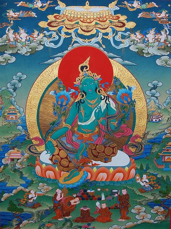 Tara Art Print featuring the painting Green Tara by Binod Art School