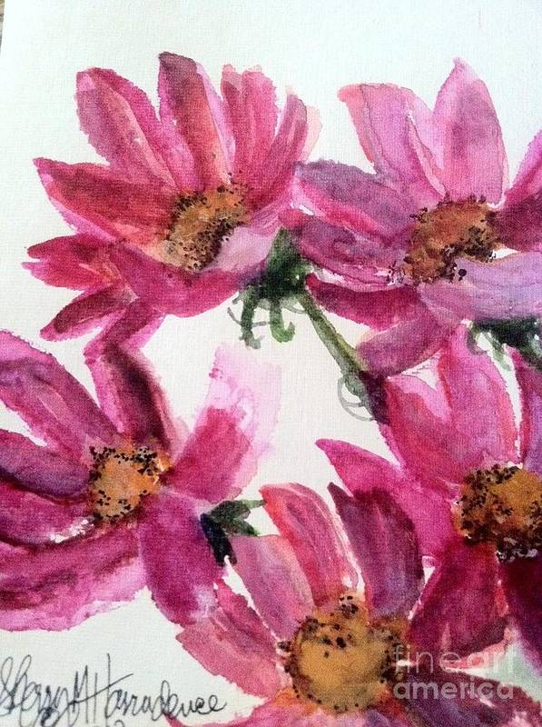 Orchards Art Print featuring the painting Gull Lake's Flowers by Sherry Harradence