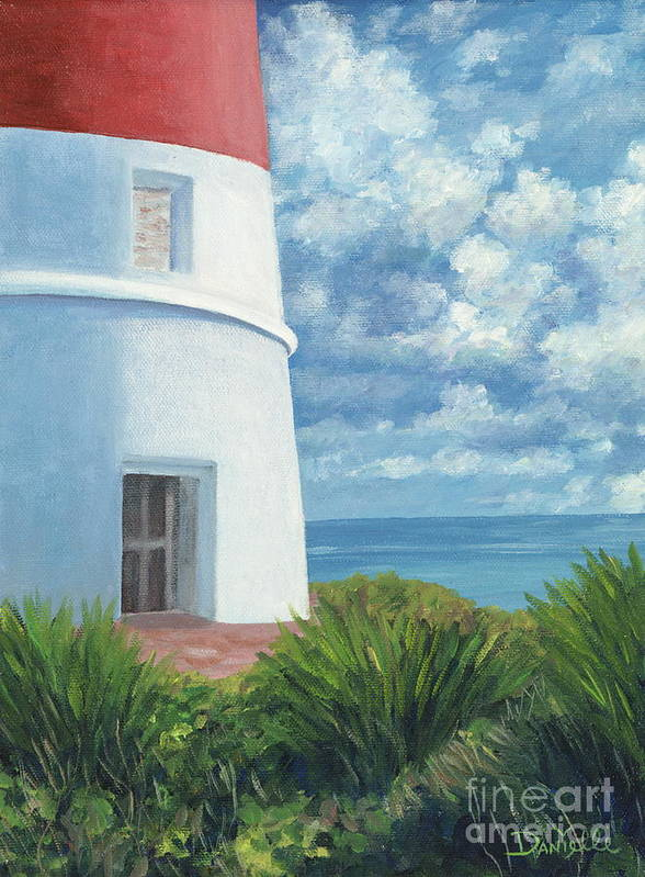 Seascape Art Print featuring the painting Gun Cay Lighthouse by Danielle Perry
