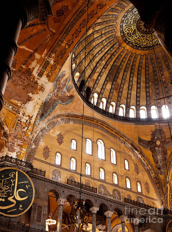 Istanbul Art Print featuring the photograph Hagia Sophia Dome 03 by Rick Piper Photography