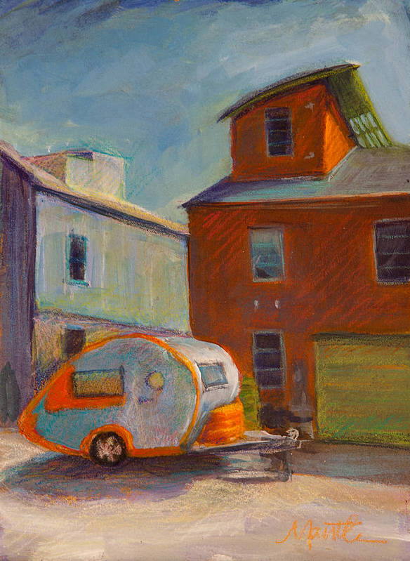 Retro Camper Art Print featuring the painting Happy Camper by Athena Mantle