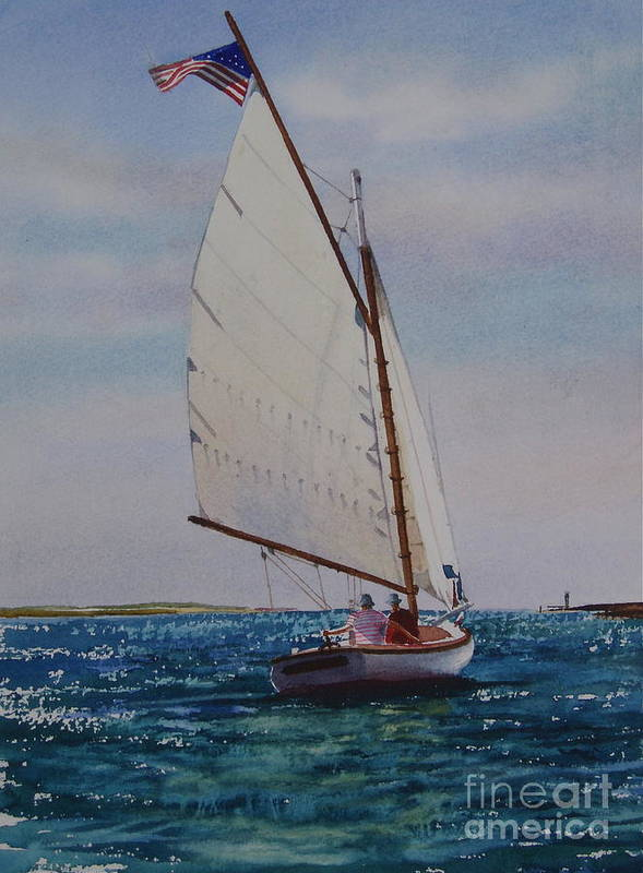 Catboat Art Print featuring the painting Heading Out by Karol Wyckoff