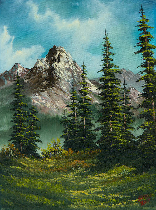 Landscape Art Print featuring the painting High Meadow by Chris Steele