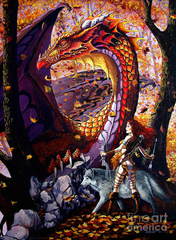 Dragon Art Print featuring the painting Highland Huntress by Stanley Morrison
