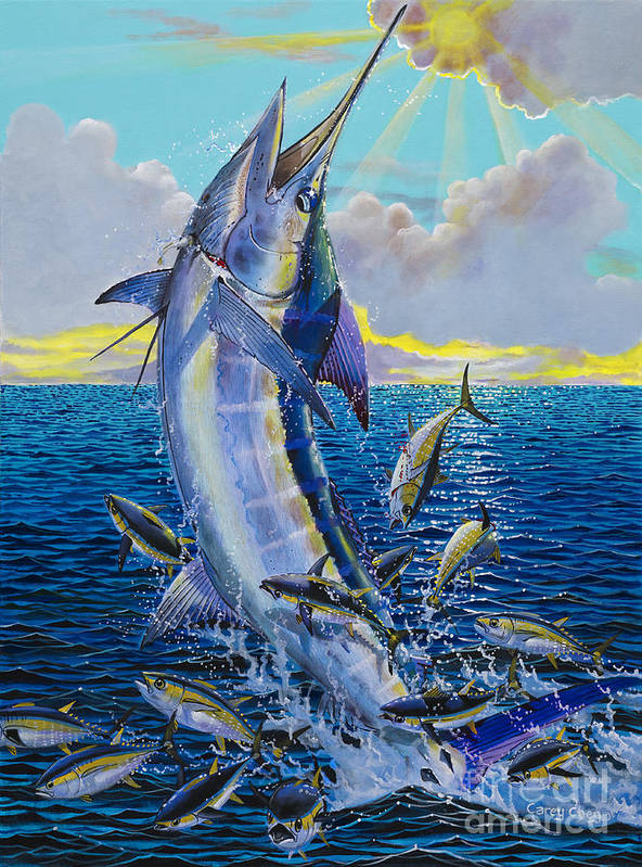 Marlin Art Print featuring the painting Hit And Miss Off0084 by Carey Chen