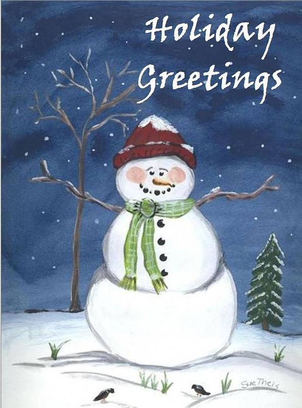Christmas Art Print featuring the painting Holiday Greetings by Suzanne Theis