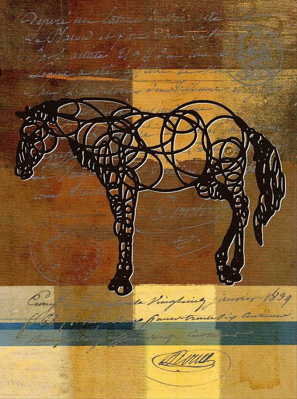 Horse Art Print featuring the digital art Horso - 70s01br02t by Variance Collections