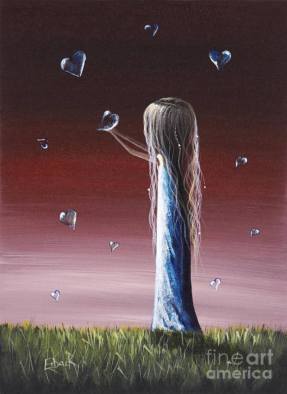 Girl Print featuring the painting How She Says I Miss You By Shawna Erback by Shawna Erback