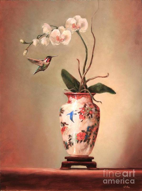 Japanese Art Print featuring the painting Hummingbird And White Orchid by Lori McNee