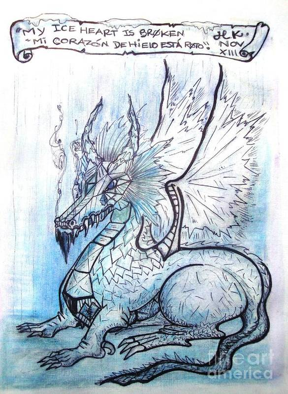 Dragon Art Print featuring the painting Ice Heart by Koral Garcia