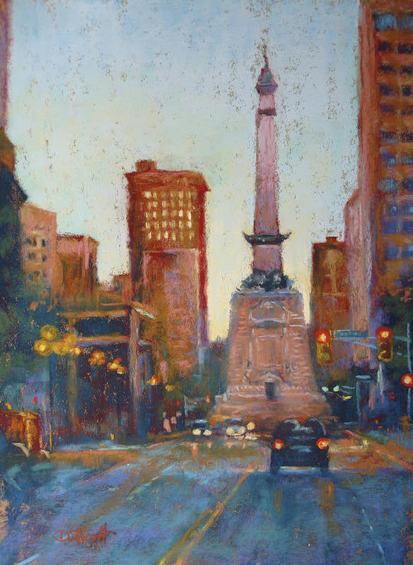 Indianapolis Art Print featuring the painting Indy Circle- Twilight by Donna Shortt