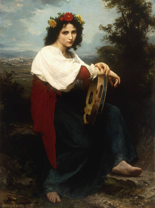 Italian; Woman; Female; Girl; Portrait; Tambourine; Musical; Instrument; Music; Seated; Rural; Landscape; Countryside; Provincial; Flower; Flowers; Hair; Garland; Headdress; Barefoot; Neo-classical; Print featuring the painting Italian Woman With A Tambourine by William Adolphe Bouguereau