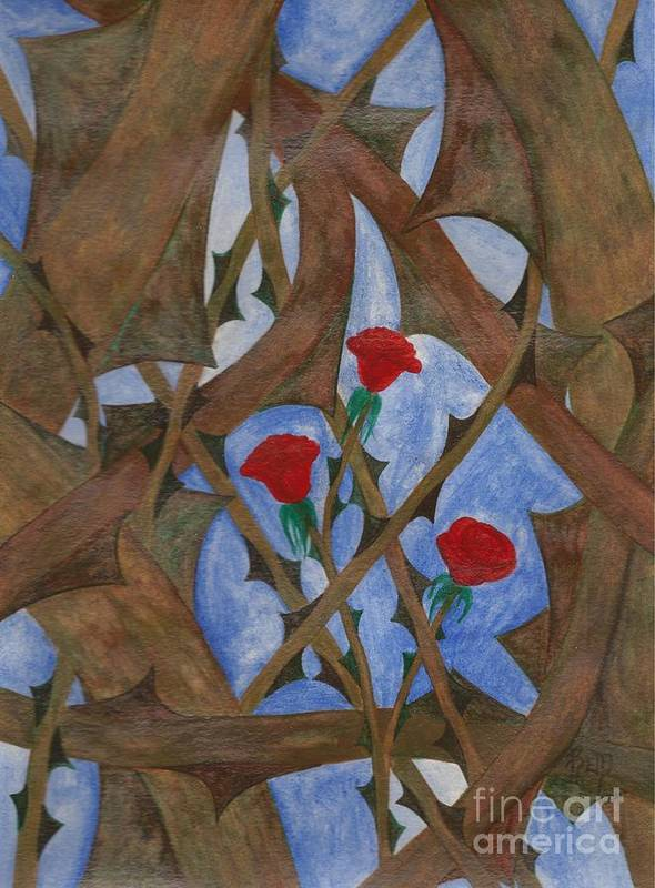 Roses Art Print featuring the painting It's Complicated by Robert Meszaros