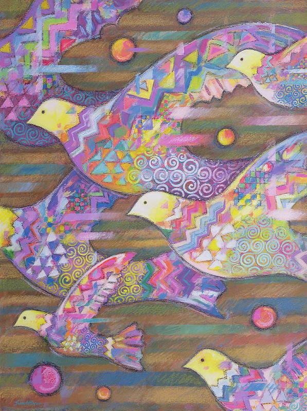 Flock Of Birds Art Print featuring the painting Jetstream by Sarah Porter