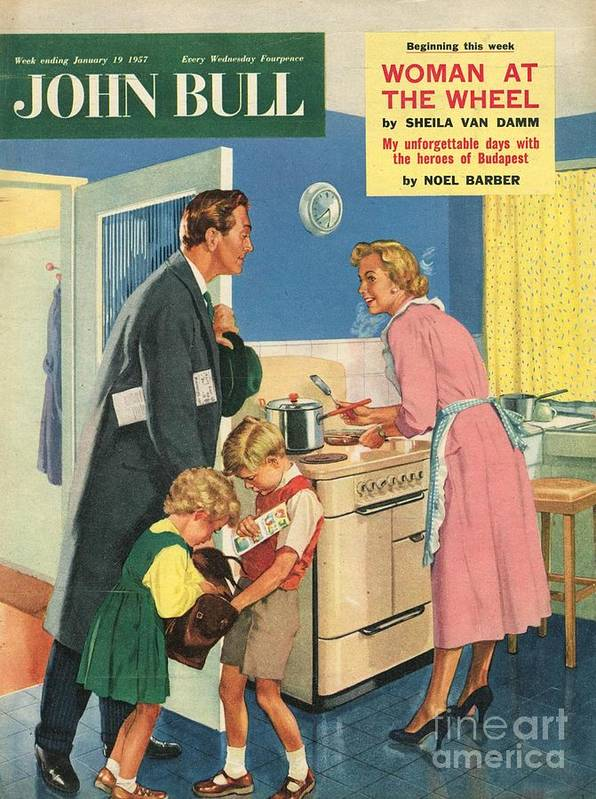 1950�s Print featuring the drawing John Bull 1957 1950s Uk Cooking by The Advertising Archives