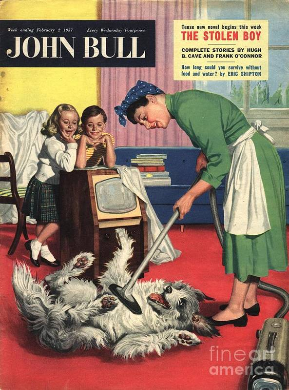1950�s Art Print featuring the drawing John Bull 1957 1950s Uk Dogs Cleaning by The Advertising Archives