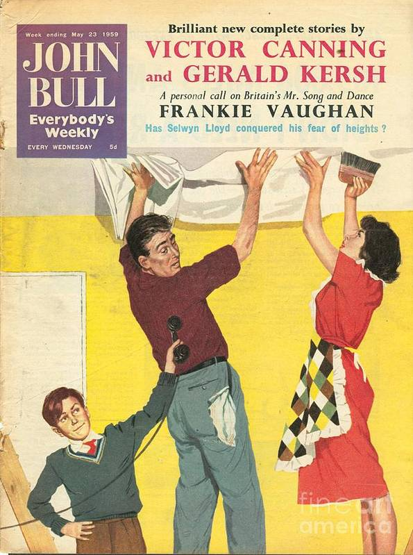 1950�s Art Print featuring the drawing John Bull 1959 1950s Uk Decorating Diy by The Advertising Archives