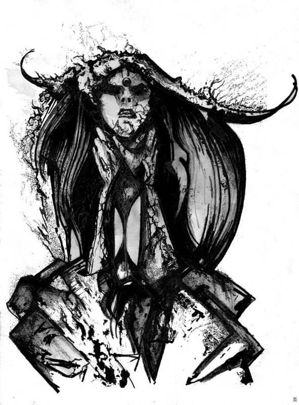 Dark Art Print featuring the digital art Killing Love by Jakub DK