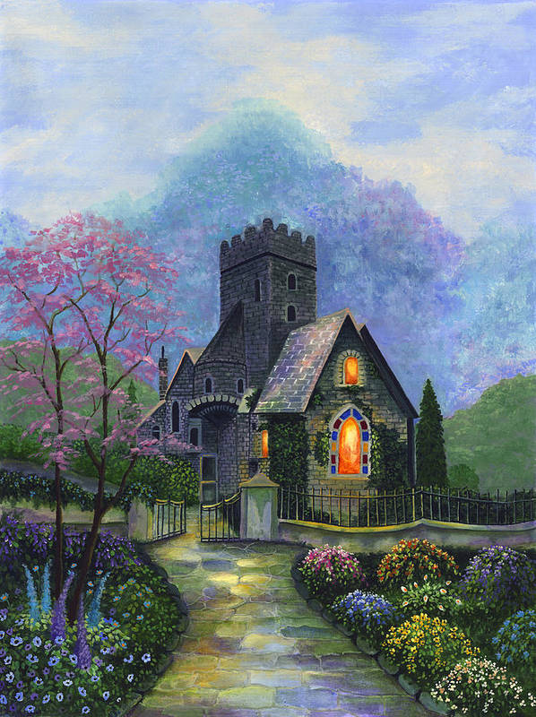 Church Art Print featuring the painting King's Garden by Bonnie Cook