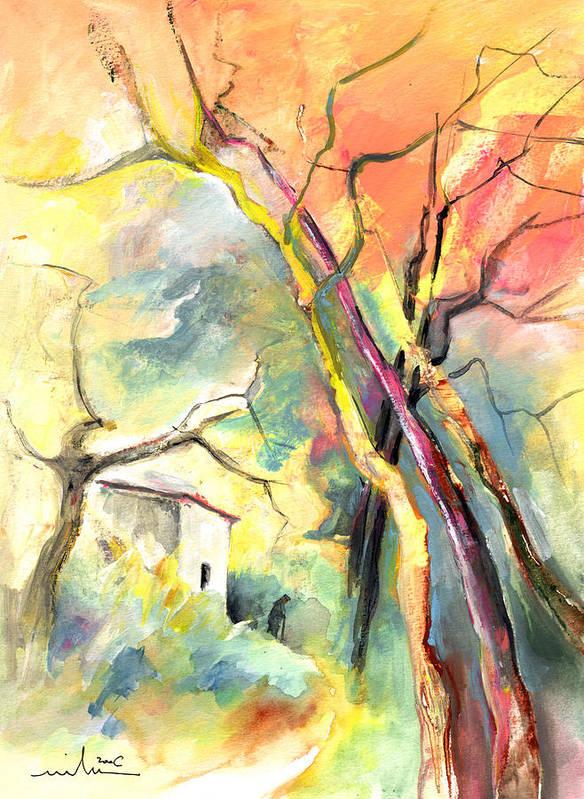 Landscapes Art Print featuring the painting La Casita 03 by Miki De Goodaboom