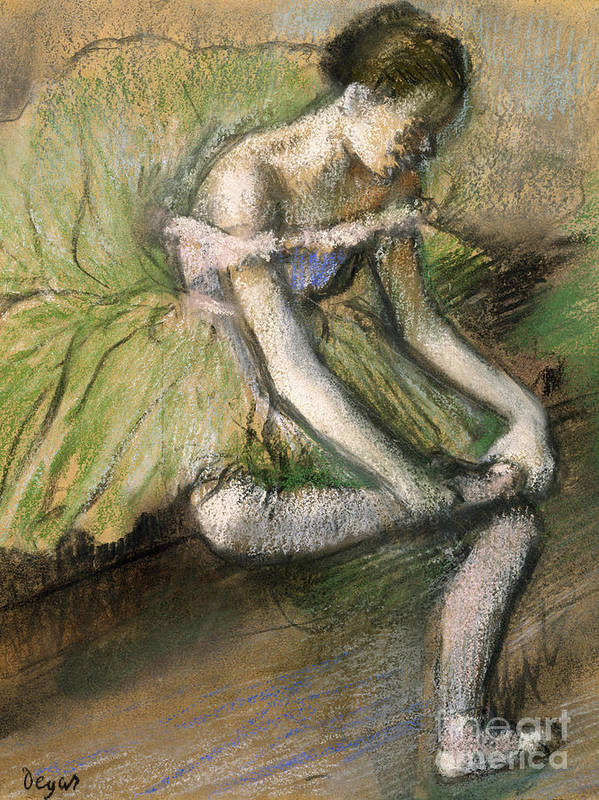 Girl Print featuring the painting La Jupe Verte by Edgar Degas