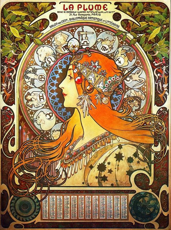 Alphonse Mucha Art Print featuring the painting La Plume Zodiac by Alphonse Mucha