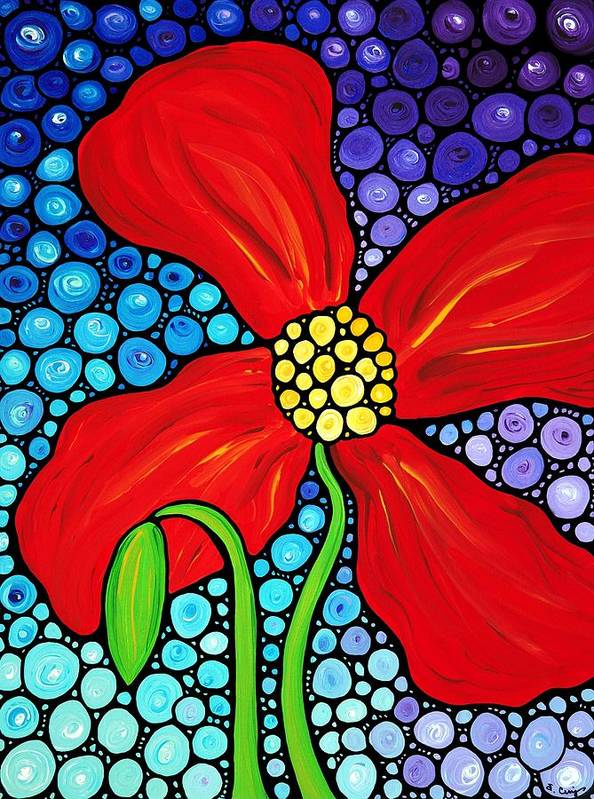 Poppy Art Print featuring the painting Lady In Red - Poppy Flower Art By Sharon Cummings by Sharon Cummings