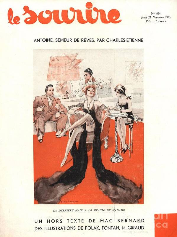 1930�s Art Print featuring the drawing Le Sourire 1933 1930s France Glamour by The Advertising Archives