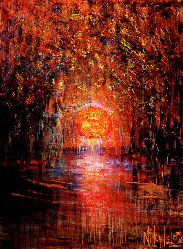 Lantern Art Print featuring the painting Light by Nik Helbig