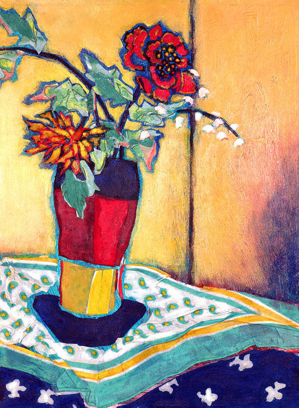 Flowers In A Vase Art Print featuring the mixed media Lilies Of The Valley by Diane Fine