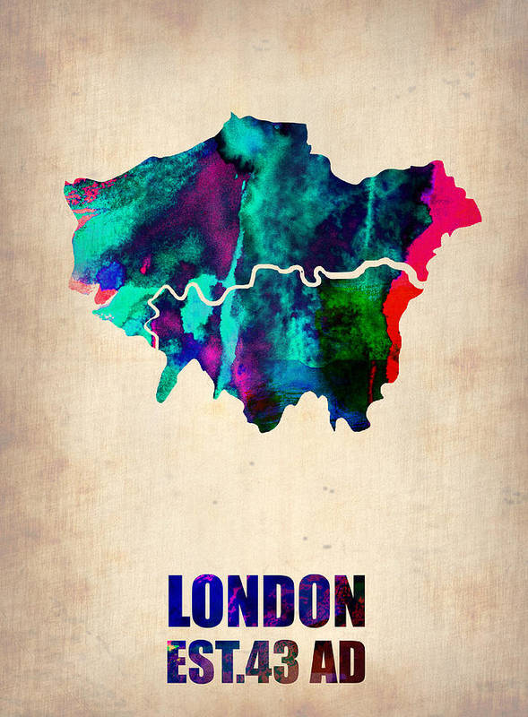 London Print featuring the painting London Watercolor Map 2 by Naxart Studio