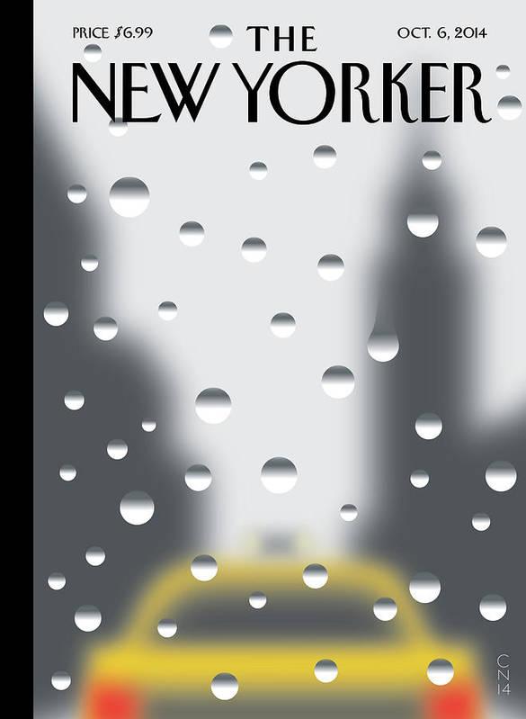 Rain Art Print featuring the painting Rainy Day by Christoph Niemann