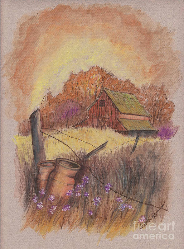 Pastel Drawing Art Print featuring the drawing Macgregors Barn Pstl by Carol Wisniewski
