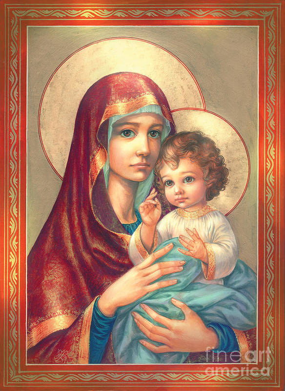 Mother Of God Art Print featuring the digital art Madonna And Sitting Baby Jesus by Zorina Baldescu