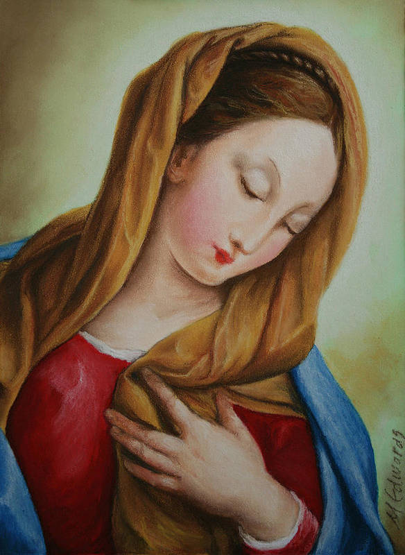 Madonna Art Print featuring the pastel Madonna by Marna Edwards Flavell
