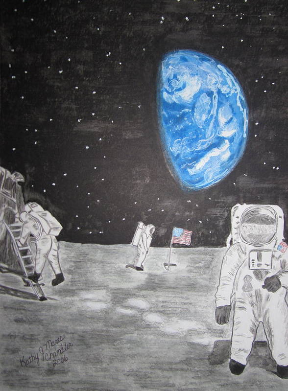 Stars Art Print featuring the painting Man On The Moon by Kathy Marrs Chandler