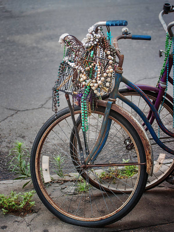 Mardi Gras Art Print featuring the photograph Mardi Gras Bicycle by Brenda Bryant