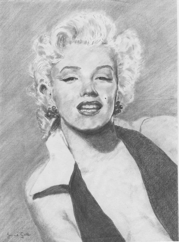 Marilyn Art Print featuring the drawing Marilyn. by Janice Gell