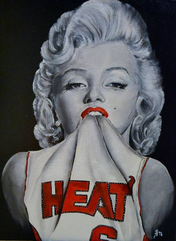 Marilyn Monroe Art Print featuring the painting Marilyn Monroe Miami Heat by S G Williams