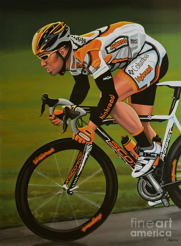 Mark Cavendish Art Print featuring the painting Mark Cavendish by Paul Meijering