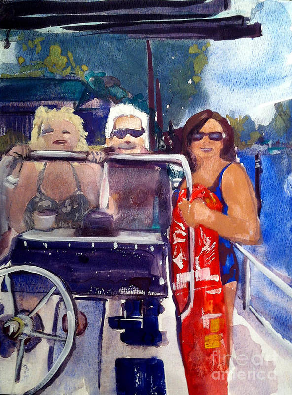Boaters Art Print featuring the painting Michigan Boaters by Sandra Stone