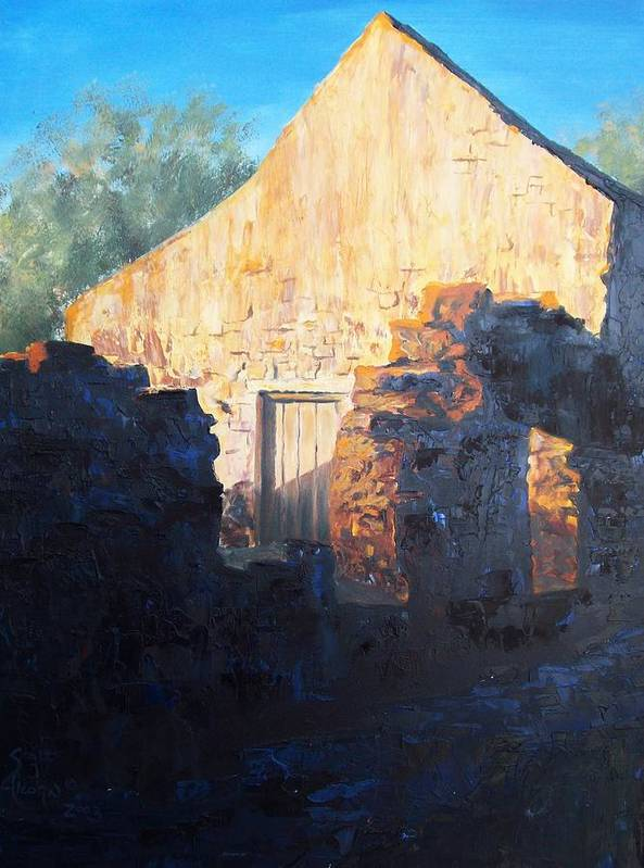 Mission Art Print featuring the painting Mission At Sunset by Scott Alcorn