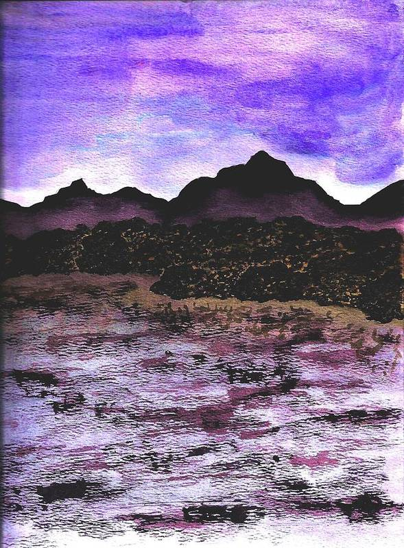 Mountains Art Print featuring the painting Mountains by Ally Mueller