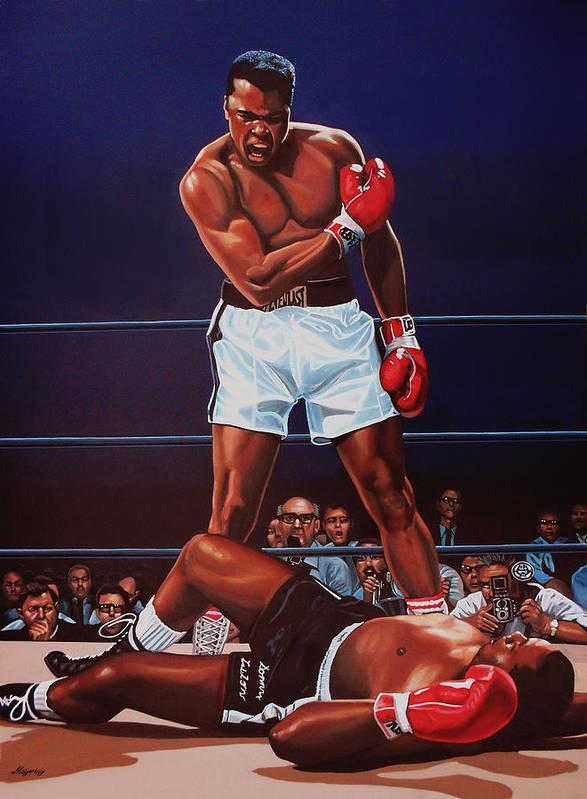 Mohammed Ali Versus Sonny Liston Art Print featuring the painting Muhammad Ali Versus Sonny Liston by Paul Meijering