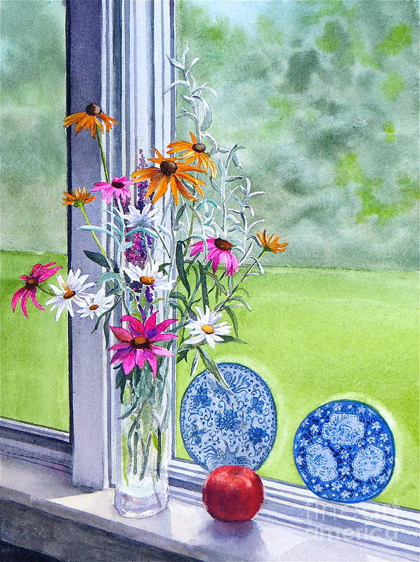 Flowers Art Print featuring the painting My Kitchen Window by Karol Wyckoff