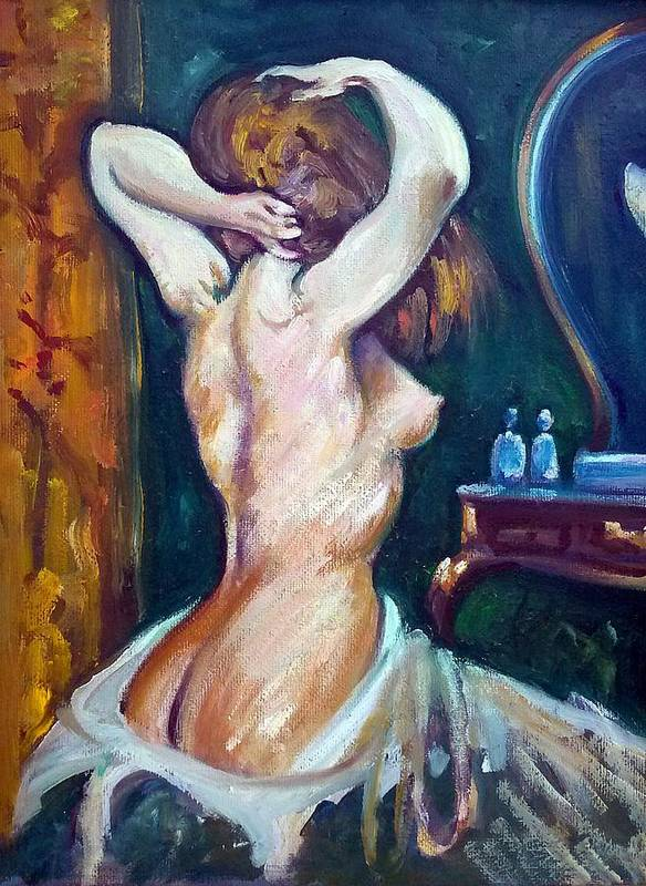 Nude Study Sketch Art Print featuring the painting My Vanity by Philip Corley