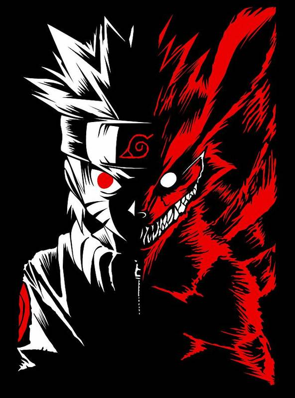 Naruto Two Face Art Print By Offbeat Zombie