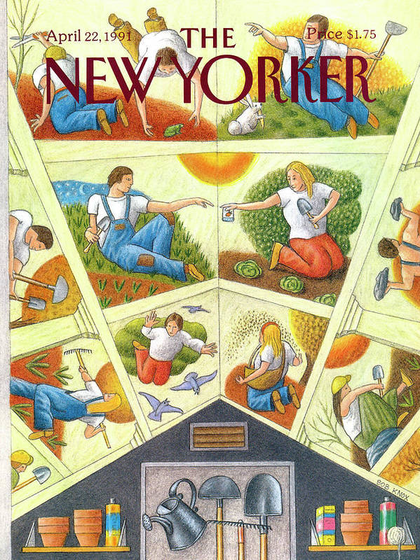 The Ceiling Of A Gardening Shed Resembling Michelangelo's Sistine Chapel Depicts Images Related To Planting And Yard Work. Art Print featuring the painting New Yorker April 22nd, 1991 by Bob Knox